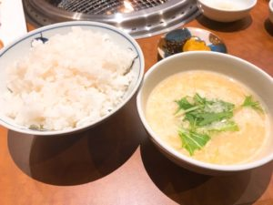 スープ、ライス、お漬物